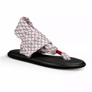 Sanuk 10 Star Print Yoga Mat Sling Fabric Sandals